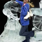 Rose of Tralee 2003 Orla Tobin with a life-size ice sculpture of Molly Malone (LEON FARRELL/PHOTOCALL IRELAND)