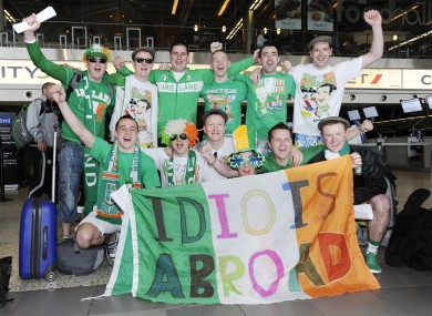Ireland fans at Dublin Airport today as they prepared to fly out to Poland for Euro 2012.