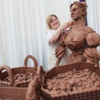 Food artist Prudence Staite makes Molly Malone out of Cadbury's Milk chocolate earleir this year. (Leon Farrell/Photocall Ireland)