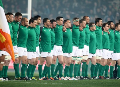 Ireland line-up for the anthems at Eden Park.