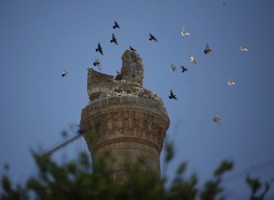 Birds fly over a destroyed minaret of a mosque at the northern town of Ariha, on the outskirts of Idlib.