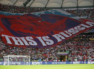 Russia fans unfurled this massive banner before the 1-1 draw.
