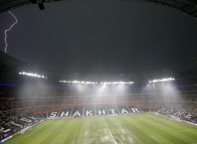 Lightning over the Shaktar stadium in Ukraine as the hosts' Euro 2012 clash with France is briefly suspended earlier this evening.
