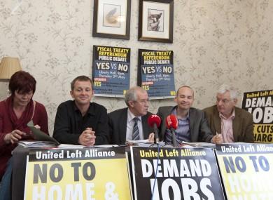 (L to R) Joan Collins, Richard Boyd Barrett, Seamus Healy, Paul Murphy and Joe Higgins at a recent ULA press conference.