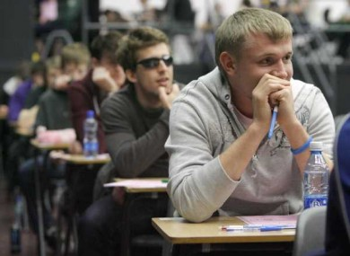 Students at Belvedere College in Dublin sit the second day of the leaving cert exams last year.