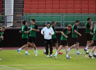 Symmetry: Giovanni Trapattoni takes squad training in Budapest at the weekend.