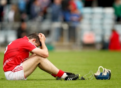 Cork's Christopher Joyce dejected at the final whistle.