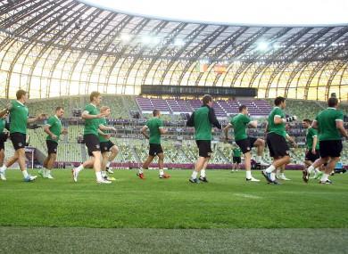Ireland train ahead of their game tonight.