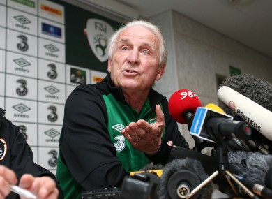 Giovanni Trapattoni facing the press yesterday.
