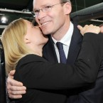Minister for European Affairs Lucinda Creighton and Fine Gael Director of Elections Simon Coveney celebrate as the result of the Fiscal Treaty referendum is announced at the result centre in Dublin Castle. (Laura Hutton/Photocall Ireland)
