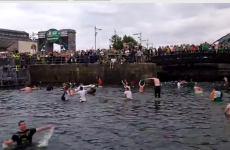 WATCH: Irish fans grow bored of match, decide to go for a swim