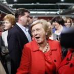 Fine Gael's Frances Fitzgerald celebrates in Dublin Castle. (Julien Behal/PA Images)