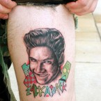 Fan of Saved by the Bell when you were younger? Why not get a Zack Morris tattoo on your leg? Wonder if he has Slater on his other leg.