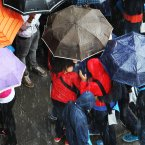 A cluster of Umbrellas as people are caught in a sudden downpour of rain on Abbey Street Dublin. (Leon Farrell/Photocall Ireland)