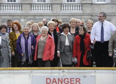 Gerry Adams (right) with some of the survivors of symphysiotomy outside Leinster House in March. Over a fifth of the women who underwent the practice did so in Co Louth, which Adams represents.