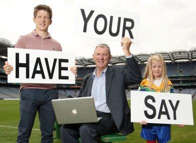 Sligo footballer David Kelly, Committee Chair Eugene McGee and Lauren Darcy in Croke Park yesterday.