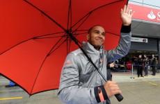 Hamilton fastest at rain-soaked Silverstone