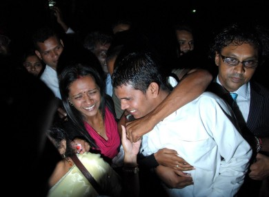 Treebhoowoon with his wife after the verdict