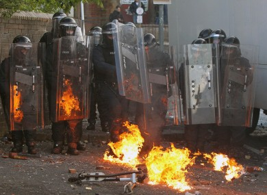 Protesters clash with police in Ardoyne following an Orange Order parade in North Belfast last Thursday.