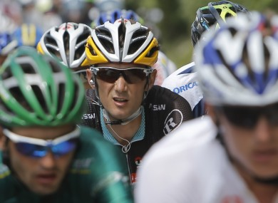 Frank Schleck rides in the pack this week before the news broke.