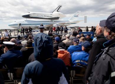 The shuttle Enterprise en route to its retirement location, New York city's Intrepid museum.