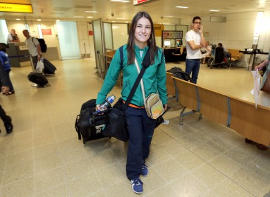 Katie Taylor arrives at Heathrow Airport.