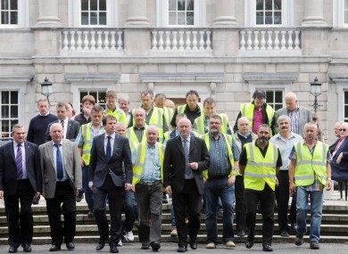 Lagan Brick workers were hosted by Sinn Féin's Caoimhghin O Caolain outside Leinster House today