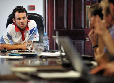 Mark Cavendish is interviewed by journalists in London yesterday.