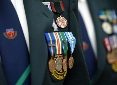 Members of the Defence Forces wearing medals awarded for services with the UN