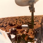 A Viking 1 image from the Martian surface, 1976, which suggests the brilliant colours of the Red Planet. (Image: NASA)