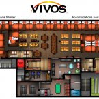 The floor plan to the community shelter at Indiana. It has enough space for 80 people. (Image: The Vivos Group)