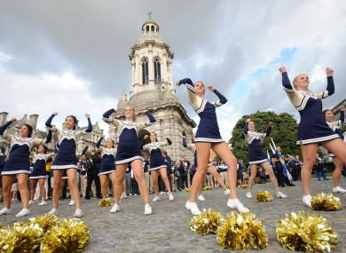 Notre Dame cheerleaders at Trinity College yesterday