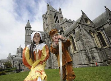 Elisha Stanley, 7, from whitehall with Luca O Shea, 5, from Greystones in Dublin at the launch of National Heritage Week at Christ Church Cathedral, Dublin