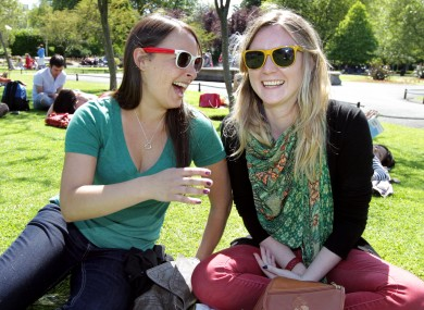 Michelle Underwood, left, from Los Angeles and Aisling Malone from Leixlip, Co. Kildare in St Stephens Green, Dublin enjoying a spot of sun last month.