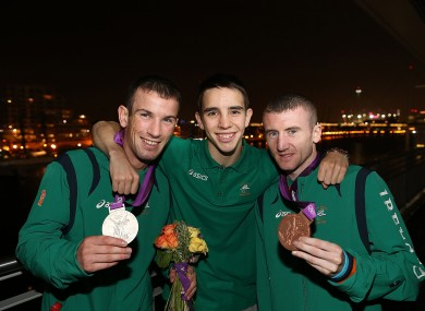 Boxing medallists John Joe Nevin, Michael Conlon and Paddy Barnes last night