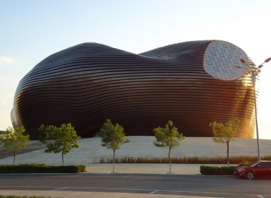 The stunning museum at the town of Kangbashi in Inner Mongolia.