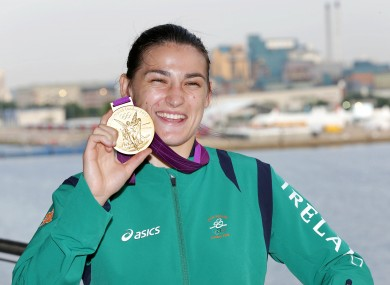 Katie Taylor celebrates with her gold medal