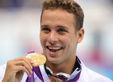 The South African with his medal last night.