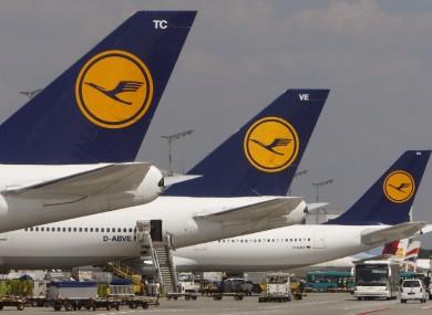 File photo of Lufthansa planes at Frankfurt airport.