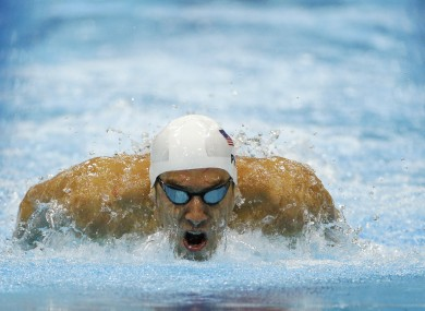 United States' Michael Phelps competes in a men's 200-metre individual medley.