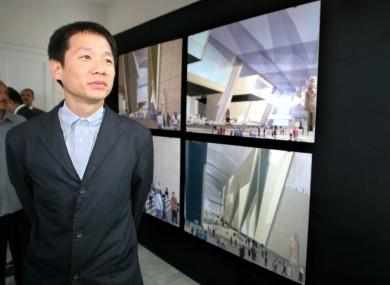 Irishman Shih-Fu Peng of the Dublin firm Heneghan in front of his designs