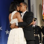 At the end of their last dance at the Eastern Inaugural Ball, their last ball of the evening of President Obama's inauguration in Washington, January 2009. (AP Photo/Charles Dharapak)