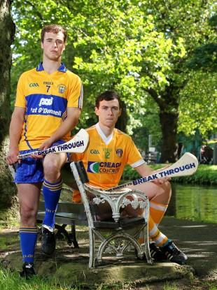 Clare player Patrick O'Connor and Conor McCann, Antrim captain and Bord Gáis Energy Ambassador.