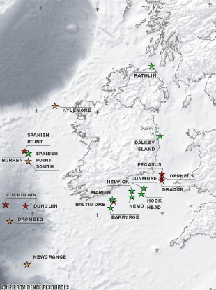 A map of Providence Resources' Irish projects