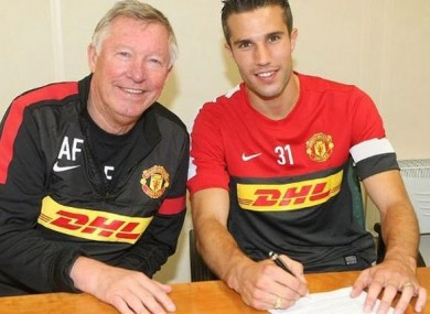 Alex Ferguson and new recruit RVP.