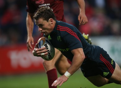 Sean Scanlon dives over for a second-half try.