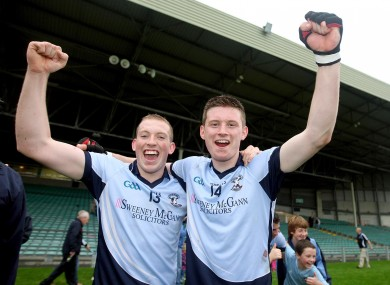 Shane Dowling and Kevin Downes of Na Piarsaigh, pictured after last year's county final, were triumphant with their club in today's quarter-final.