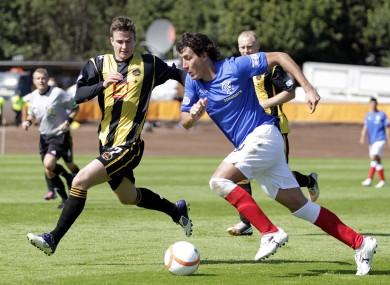 Berwick Rangers' Steven Notman (left) battles with Rangers' Francisco Sandaza during the Scottish Division 3 match.