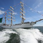 The Cuauhtemoc out on the water.