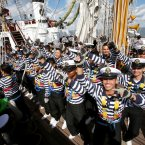 The Cuauhtemoc's crew dance and sing as the ship sails out of Dublin Harbour.